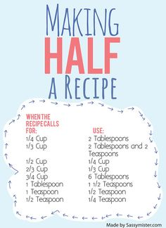 """Making Half a Recipe Cheat Sheet!  Baking can be so complex, and with all that math you gotta do... """"ain't nobody got time fo that!"""" - That's why this is SO HELPFUL!"""