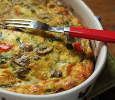 Breakfast for dinner? How about this healthy asparagus, mushroom and goat cheese breakfast casserole.