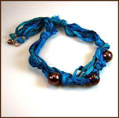 Silk Sari Ribbon Necklace with Raku Beads. $31.00, via Etsy.