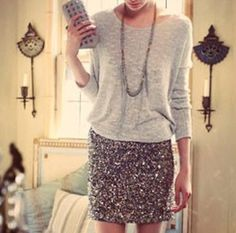What to wear with a silver sequin mini skirt? A grey top like this one. Love it! cheek sequin skirt  http://www.stumbleupon.com/su/30Py9d/www.shefinds.com/