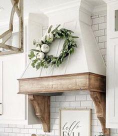 Kitchen Redo, Home Decor Kitchen, Kitchen Remodel, Kitchen Design, Shiplap In Kitchen, Blue Kitchen Ideas, Cozy Kitchen, Wooden Range Hood, Custom Range Hood