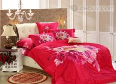 High Quality Large Flowers 100% Cotton 4 Piece Printed Bedding Set