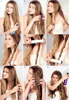 Curled hairstyles Thick hair styles Lose curls long hair Curls for long hair Wavy Hairstyles Tutorial, Curled Hairstyles, Braided Hairstyles, Curly Hair Tutorial, Easy Casual Hairstyles, Hair Curling Tutorial, Curling Iron Hairstyles, No Heat Hairstyles, Hairstyle Ideas