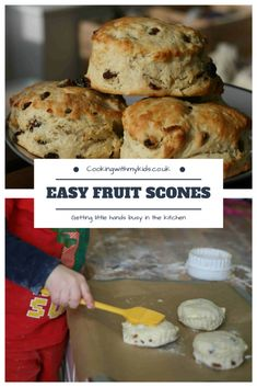 Fruit scones are one of the easiest things you can make with your kids and with very little sugar, are a healthier alternative to some other snacks. Fruit Recipes, Sweet Recipes, Dessert Recipes, Cooking Recipes, Cake Recipes, Recipies, Cooking 101, Pudding Recipes, Vegan Desserts
