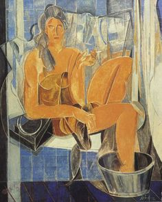 """Alfredo Roldan """"El baño azul"""" óleo sobre lienzo, 162 x 130 cm. Año 1994 En 1994, gana el Premio -Ayuntamiento de Madrid- en el LXI Salón de Otoño con el cuadro El baño azul. Esta obra forma parte de la colección permanente del Museo de Arte Contemporáneo de Madrid."""