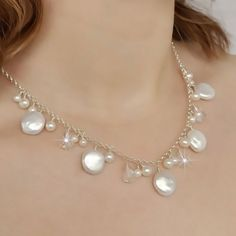 Beach Wedding Necklace Freshwater Coin Pearl by somethingjeweled, $87.00