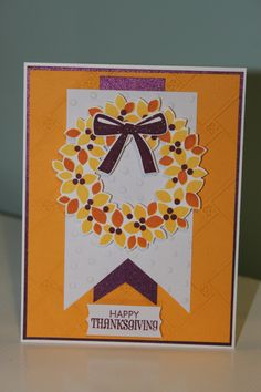 Thanksgiving Day card. SU Stampin' Up Wonderous Wreath bundle.