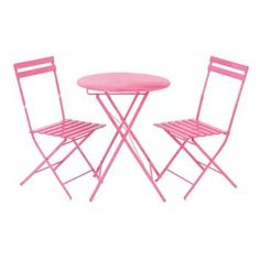 bistro table and chair sets pink | Pink Wrought Iron Metal Garden ...