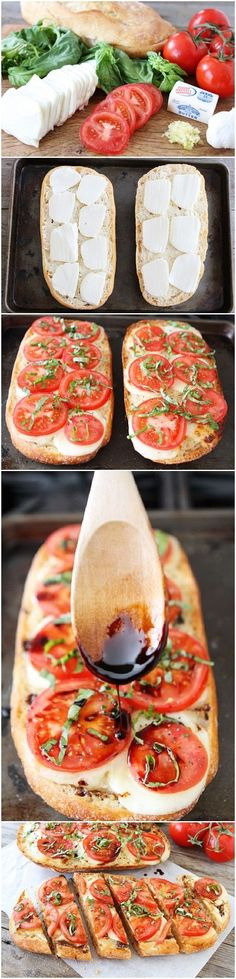 Caprese Garlic Bread - 1 loaf ciabatta bread, horizontally cut in half 4 tablespoons salted butter 3 cloves garlic, minced 12 oz. Snacks Saludables, Tasty, Yummy Food, I Love Food, Appetizer Recipes, Party Appetizers, Food To Make, Healthy Snacks, Foodies