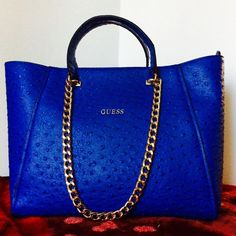 1 HOUR SALE Gorgeous Royal blue GUESS Bag New. Never used! Beautiful in every way, no questions about it. Guess Bags Totes