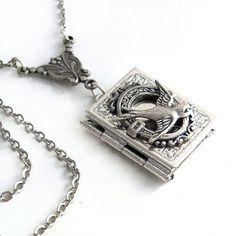 Silver Bird  Book Locket Necklace Wedding by TrashAndTrinkets,
