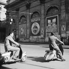 steroge: Two men riding Vespa scooters in Italy, c1950s* (Evans/Getty)