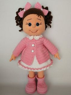 Best 12 Brown Headed Knit Doll Pink Cardigan Doll White Dress Doll image 2 – Page 785948572454952787 Doll Amigurumi Free Pattern, Crochet Amigurumi Free Patterns, Crochet Doll Pattern, Amigurumi Doll, Crochet Monkey, Crochet Teddy, Cute Crochet, Crochet Baby, Crochet Geek