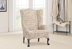 This would look awesome on my wingback chairs that I have no idea what to do with!!!!!  Sure Fit Slipcovers Stretch Pen Pal by Waverly™ Wing Chair Slipcover - Wing Chairs