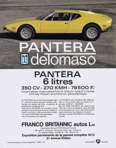 DeTomaso Pantera adv https://plus.google.com/+JohnPruittMotorCompanyMurrayville/posts