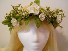 Flower Crown Head Wreath Winter White Weddings by MyFairyJewelry