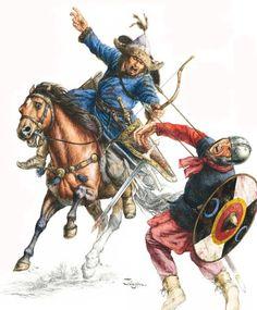 432-450 Los Hunos cruzan el Danubio y atacan el imperio romanohun horse archer and late roman infantry