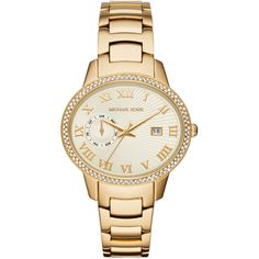 Michael Kors 41mm Whitley Golden Stainless Steel Watch (1.210 BRL) ❤ liked on Polyvore featuring jewelry, watches, gold, bracelet watches, stainless steel bracelet, michael kors jewelry, pave bracelet and water resistant watches