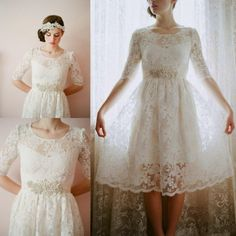 Find More Wedding Dresses Information about 2016 A line Scoop Half Sleeve White Lace Knee Length Wedding Gowns vestido de casamento Custom Cheap Short Wedding Dresses,High Quality dress asos,China dress combination Suppliers, Cheap gowns for kids sale from Kaka Dresses on Aliexpress.com