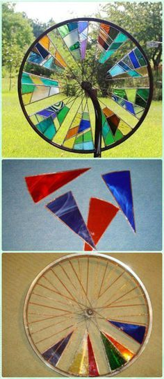 DIY Stained Glass Bicycle Wheel Garden Spinner Instruction - DIY Ways to Recycle Bike Rims DIY Ways to Recycle Bike Rims Ideas & Instructions: Re-purpose Bike Wheels and Rims into Home and Garden Decoration, Wreath, Garden Art, Trellis, Chandelier Stained Glass Lamps, Stained Glass Projects, Stained Glass Patterns, Stained Glass Windows, Mosaic Glass, Window Glass, Stained Glass Suncatchers, Glass Partition, Glass Garden