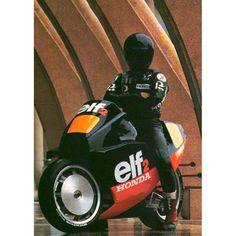 """Ron Haslam is all the rad. 1985 Honda Elf-2"""
