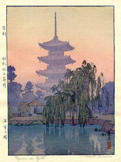 Pagoda in Kyoto  by Toshi Yoshida, 1942