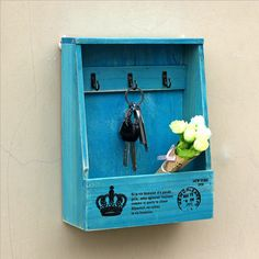 Nice Well-Made Industrial Vintage Style Sundries Storage Wood Key Hanging Box Organizer Blue or Brown