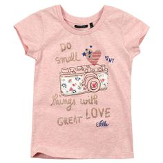 Pink cotton jersey T-shirt. Round neck and short sleeves. Design print on the chest. - 36,00 €