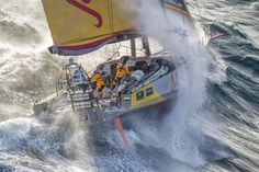 March 19, 2015. Abu Dhabi Ocean Racing tackles steep and angry seas as they pass East Cape, the eastern-most point of New Zealand - Ainhoa Sanchez / Volvo Ocean Race
