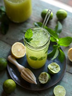 This ginger-mint limeade is a refreshing beverage reminiscent of classic Southern-style lemonade, but a bit more wholesome and sophisticated. Ginger Lemonade, Mint Lemonade, Healthy Smoothies, Healthy Drinks, Smoothie Recipes, Mint Limeade Recipe, Best Vegan Recipes, Fresh Ginger, Plant Based Recipes
