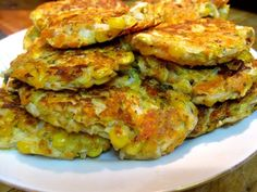 A recipe for Vegetable Fritters with ingredients, step by step photos and instructions. These little fritters are a great way to get your daily serve of veggies and could be eaten at any meal, breakfast, lunch, snack or dinner. Vegetable Pancakes, Recipe Steps, Fritters, Goat Cheese, Salmon Burgers, Vegetable Recipes, Lunch, Snacks, Meals