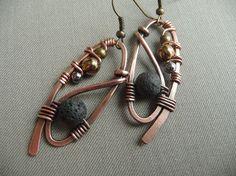 Copper Wire Wrapped Earrings with Black Volcanic Lava Beads, Antiqued Copper Earrings, Boho Earrings, Long Dangle Earrings, Wirework, Rustic