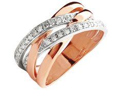Aww... pink gold    <3  Pierścionek z białego i różowego złota z diamentami | Apart