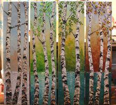 Quatre saisons énorme 48 x 48 Original peinture par natasartstudio