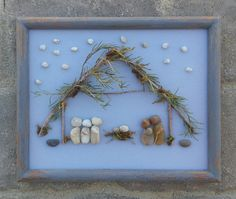 "Pebble Art NATIVITY (Mary, Joseph, Baby Jesus and The Three Wisemen) in an 8x10 ""open"" frame"