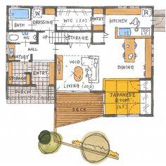 清家修吾さんはInstagramを利用しています:「. 【ボツプラン529】 敷地に対しての建物の配置や形状が上手く、間取りの組み方も良いです。 一切無駄の無い合理的な設計をすることを目的とすれば、100点だと思います(^ ^)…」 Japan House Design, Small House Design, My House Plans, House Floor Plans, Japanese Architecture, Interior Architecture, Japanese House, House Layouts, Kitchen And Bath