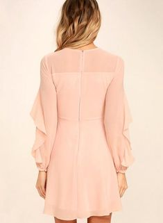 The Quiet Grace Blush Pink Long Sleeve Dress speaks volumes without saying a word! A sheer decolletage is met by a rippling tier that travels along long sleeves. Blush Dresses, Dressy Dresses, Modest Dresses, Stylish Dresses, Simple Dresses, Dresses With Sleeves, Wedding Dresses, Little Girl Dresses, Girls Dresses