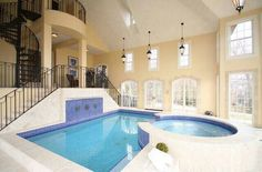 Swimming Pool, Elegant Rectangle Indoor Swimming Pool Design With Grey Tile  Pool Deck And Round Jacuzzi: Building Sweet Indoor Pool At Home