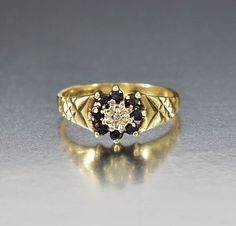 Vintage English Gold Diamond Sapphire Ring