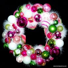 Bebop Pink and Green Christmas Ornament Wreath
