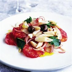 Razor clams and blood oranges recipe. This is inspired by a classic dish from southern Spain. If you don't have razor clams, you can use squid in the same way. Clam Recipes, Oyster Recipes, Fish Recipes, Seafood Recipes, Seafood Dishes, Fish And Seafood, Razor Clams Recipe, Orange Recipes, Blood Orange
