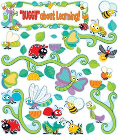 """Your students will go """"buggy"""" for learning with this adorable """"Buggy"""" for Bugs Bulletin Board Set. The """"Buggy"""" for Bugs collection features an assortment of colorful little creatures in fresh, contrasting designs and patterns with a splash of vivid colors to keep the classroom engaging. These unique and functional sets are flexible enough to add an element of fun into the classroom while supporting the curriculum. Bulletin board set includes:Blank bugs header (23.5"""" x 8"""")""""Buggy"""" about…"""