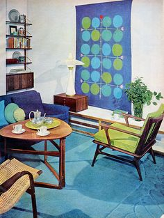 modern room 1958,,,oh look , a Twister game on the wall,,,even before Twister was invented.