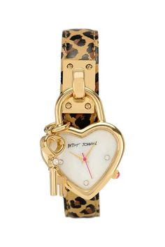 Women's Heart Lock Leopard Printed Genuine Leather Watch by Betsey Johnson Jewelry  Watches on @HauteLook