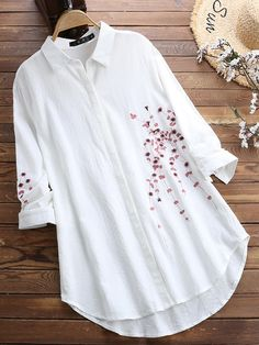Women Cotton Button Down Plum Embroidered Blouse Stylish Dresses For Girls, Stylish Dress Designs, Designs For Dresses, Stylish Outfits, Stylish Tops For Women, Designer Party Wear Dresses, Kurti Designs Party Wear, Pakistani Dresses Casual, Pakistani Fashion Casual