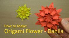Comment faire des fleurs en origami – Comment faire un tutoriel Dahlia en origami – Origami Community : Explore the best and the most trending origami Ideas and easy origami Tutorial Easy Origami Flower, Origami Flowers Tutorial, Origami Stars, Flower Tutorial, How To Make Origami, Useful Origami, Diy Origami, Origami Paper, Dollar Origami