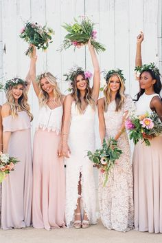 Bridesmaid dresses different from each other just keeping the range of pale pink . an excellent idea for a boho wedding! Pink wedding inspiration and ideas for the alternative creative bride Mismatched Bridesmaid Dresses, Pink Wedding Dresses, Boho Bridesmaids, Pink Dresses, Maxi Dresses, Wedding Gowns, Vineyard Wedding Dresses, Bridesmaid Dresses Pale Pink, Bridesmaid Hair