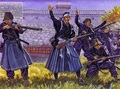 """Yamamoto Yaeko inspires the men of the Aizu garrison, 1868"""