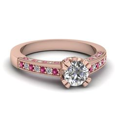 Round Cut Diamond Engagement Rings With Pink Sapphire In 18K Rose Gold | Adorned Milgrain Ring | Fascinating Diamonds