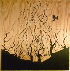 "Niger River Delta, Nigeria.  by timothy stevens . An image of the Niger River delta, painted on to a piece of found freight plywood.(with the ""fragile symbol and stamps still on it) Seemingly abstract, it is in fact more a map."